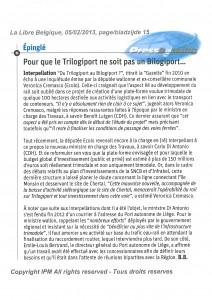 Un article de Bruno Boutsen à lire dans la Libre du 5/02/13