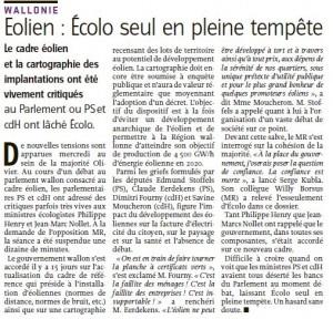 Un article à lire dans L'Avenir du 07/03/13